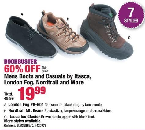 Boscov's Black Friday: Itasca, London Fog, Nordtrail & More Boots and Casuals for Men for $19.99