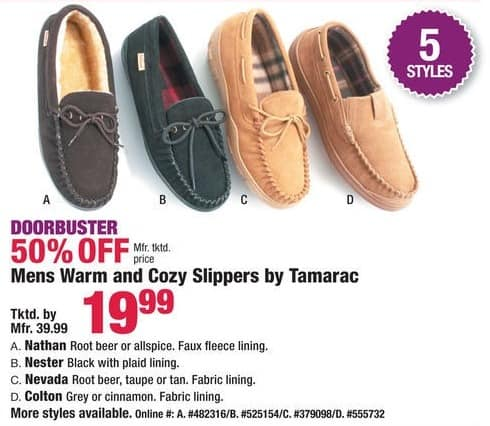 Boscov's Black Friday: Tamarac Warm & Cozy Slippers for Men for $19.99
