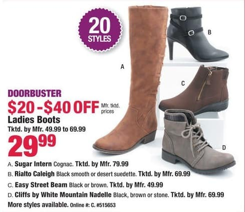 Boscov's Black Friday: Ladies Boots for $29.99