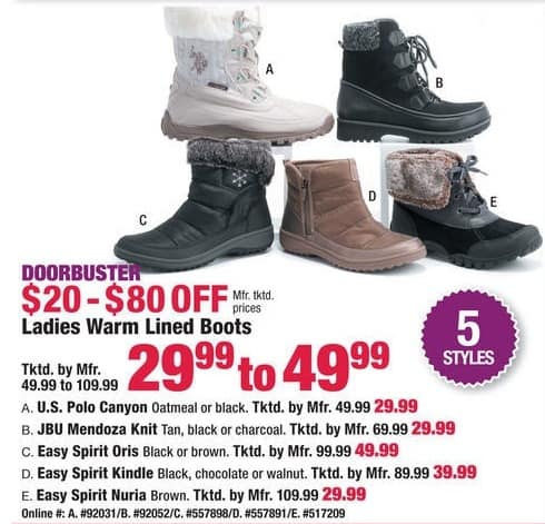 Boscov's Black Friday: Ladies Warm Lined Boots for $29.99 - $49.99