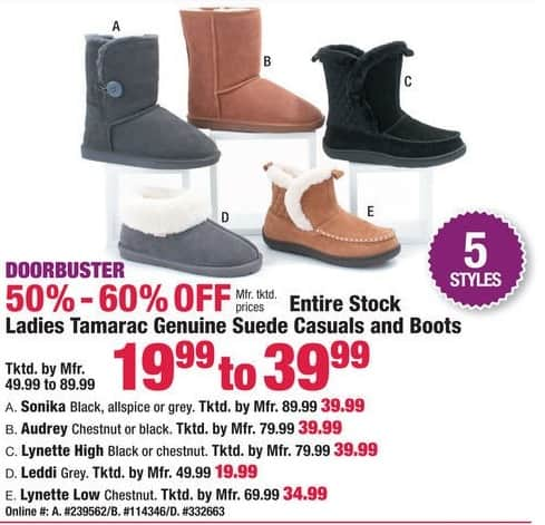 Boscov's Black Friday: Ladies Tamarac Genuine Suede Causals & Boots for $19.99 - $39.99