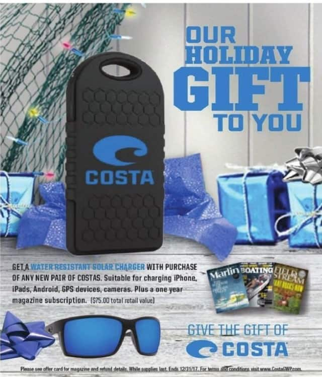 Academy Sports + Outdoors Black Friday: Purchase Any New Pair of Costas Sunglasses, Get a Water Resistant Solar Charger & 1 Yr Magazine Subscription for Free