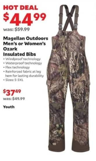Academy Sports + Outdoors Black Friday: Magellan Outdoors Ozark Insulated Bibs for Men & Women for $44.99