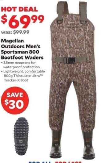 Academy Sports + Outdoors Black Friday: Magellan Outdoors Sportsman 800 Bootfoot Waders for Men for $69.99