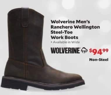 Academy Sports + Outdoors Black Friday: Wolverine Ranchero Wellington Steel-Toe Work Boots for Men for $99.99