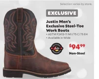 Academy Sports + Outdoors Black Friday: Justin Exclusive Steel-Toe Work Boots for Men for $99.99