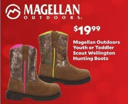 Academy Sports + Outdoors Black Friday: Magellan Outdoors Youth or Toddler Wellington Hunting Boots for $19.99