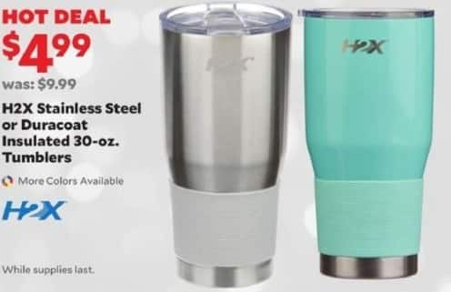 Academy Sports + Outdoors Black Friday: H2X Stainless Steel or Duracoat 30oz Insulated Tumblers for $4.99