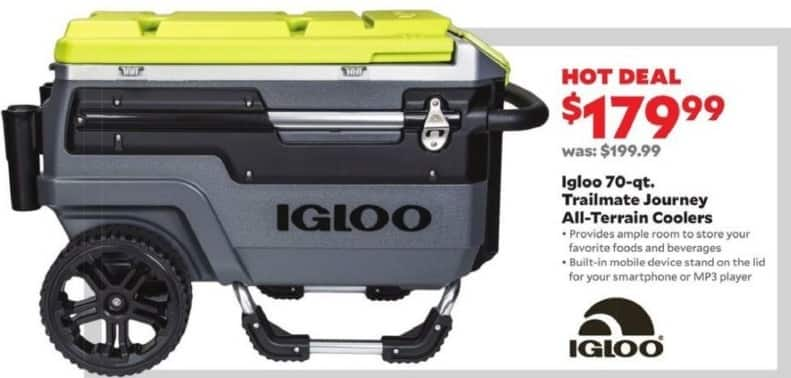 Academy Sports + Outdoors Black Friday: Igloo 70-qt. Trailmate Journey All-Terrain Cooler for $179.99
