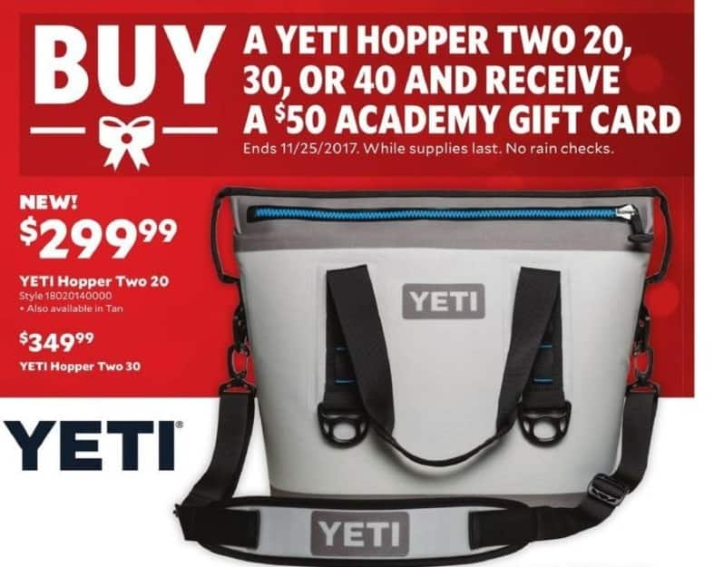 Academy Sports + Outdoors Black Friday: Buy Any Yeti Hopper Two 20, 30, or 40 Cooler and Receive an Academy $50 Gift Card for Free