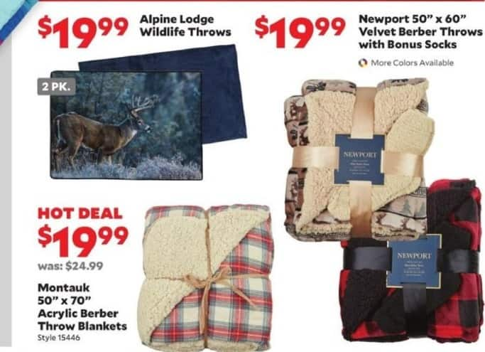 Academy Sports + Outdoors Black Friday: Alpine Lodge Wildlife, Montauk Acrylic Berber or Newport Velvet Throw Bankets for $19.99