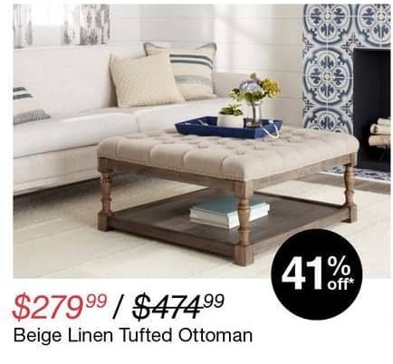 Overstock Black Friday: Beige Linen Tufted Ottoman for $279.99