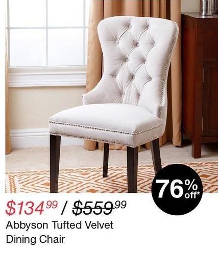 Overstock Black Friday: Abbyson Tufted Velvet Dining Chair for $134.99