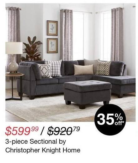 Overstock Black Friday: Christopher Knight Home 3-pc Sectional for $599.99