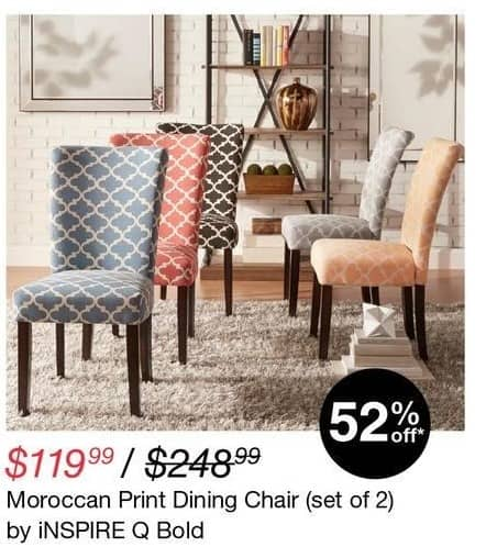 Overstock Black Friday: iNSPIRE Q Bold Moroccan Print Pair of Dining Chairs for $119.99
