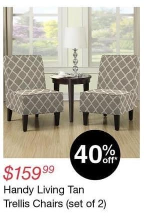 Overstock Black Friday: Handy Living Set of 2 Tan Trellis Chairs for $159.99