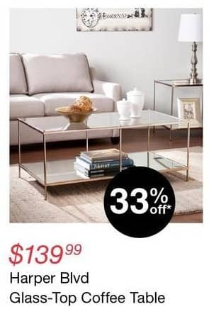 Overstock Black Friday: Harper Blvd Glass-Top Coffee Table for $139.99