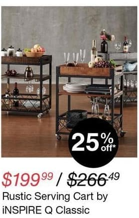Overstock Black Friday: iNspire Q Classic Rustic Serving Cart for $199.99