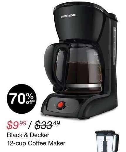 Overstock Black Friday: Black & Decker 12-Cup Coffee Maker for $9.99