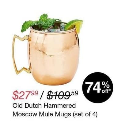Overstock Black Friday: Old Dutch Set Of 4 Hammered Moscow Mule Mugs for $27.99