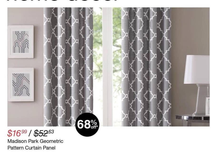 Overstock Black Friday: Madison Park Geometric Pattern Curtain Panel for $16.99