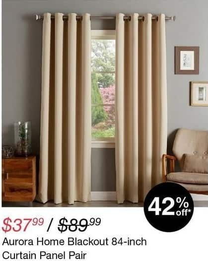 "Overstock Black Friday: Aurora Home Blackout 84"" Curtain Panel Pair for $37.99"