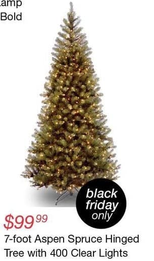Overstock Black Friday: Aspen Spruce Hinged 7' Christmas Tree w/ 400 Clear Lights for $99.99