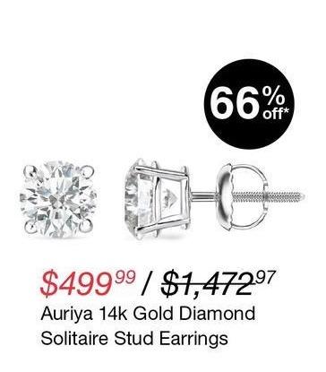 Overstock Black Friday: Auriya 14K Gold Diamond Solitaire Stud Earrings for $499.99
