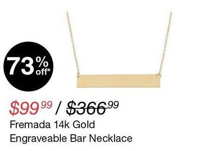 Overstock Black Friday: Fremada 14K Gold Engraveable Bar Necklace for $99.99