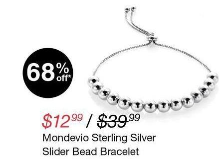 Overstock Black Friday: Mondevio Sterling Silver Slider Bead Bracelet for $12.99