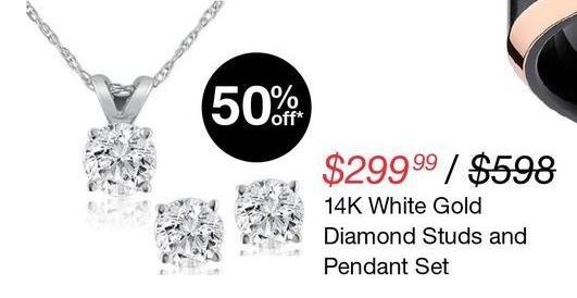 Overstock Black Friday: Diamond Studs & Pendant 14K White Gold Set for $299.99