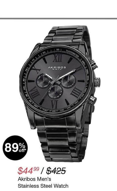 Overstock Black Friday: Akribos Men's Stainless Steel Watch for $44.99