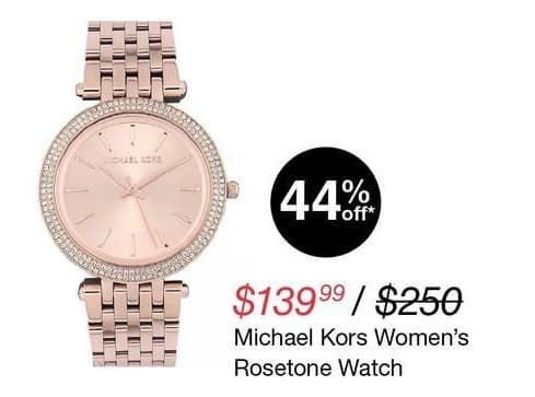 Overstock Black Friday: Michael Kors Women's Rosetone Watch for $139.99
