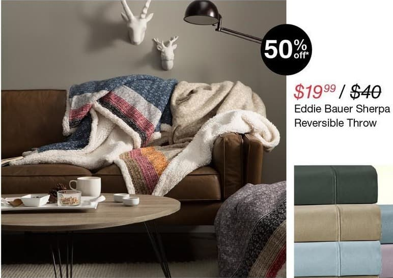 Overstock Black Friday: Eddie Bauer Sherpa Reversible Throw for $19.99