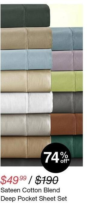 Overstock Black Friday: Sateen Cotton Blend Deep Pocket Sheet Set for $49.99