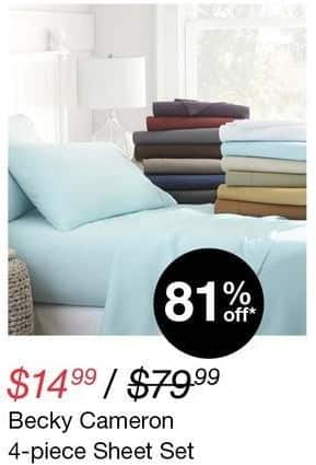 Overstock Black Friday: Becky Cameron 4-pc Sheet Set for $14.99