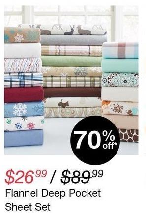 Overstock Black Friday: Flannel Deep Pocket Sheet Set for $26.99