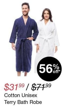 Overstock Black Friday: Cotton Unisex Terry Bath Robe for $31.99