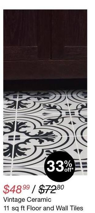 Overstock Black Friday: Vintage Ceramic 11 sq. ft. Floor & Wall Tiles for $48.99