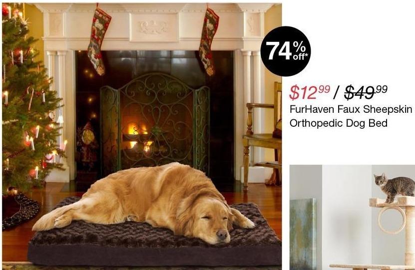 Overstock Black Friday: FurHaven Faux Sheepskin Orthopedic Dog Bed for $12.99