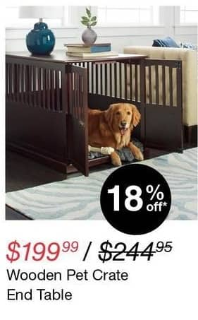 Overstock Black Friday: Wooden Pet Crate End Table for $199.99