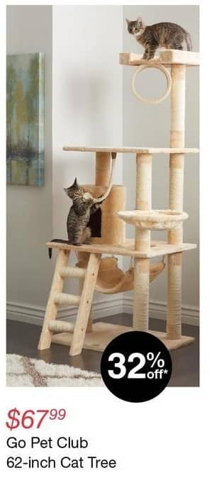 "Overstock Black Friday: Go Pet Club 62"" Cat Tree for $67.99"