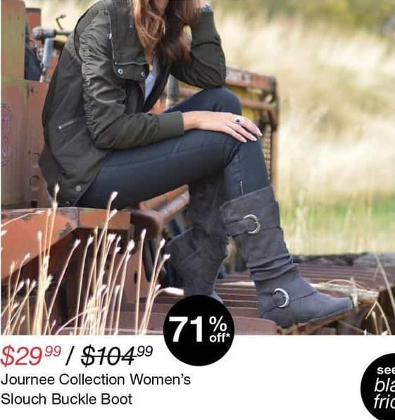 Overstock Black Friday: Journee Collection Women's Slouch Buckle Boot for $29.99