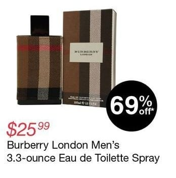 Overstock Black Friday: Burberry London Men's 3.3-oz. Eau de Toilette Spray for $25.99