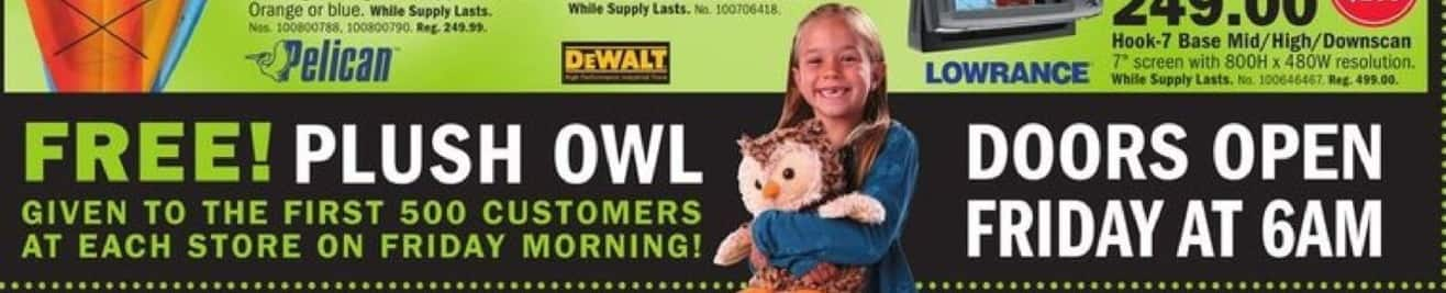 Mills Fleet Farm Black Friday: First 100 Customers at Each Store Get a Plush Owl for Free