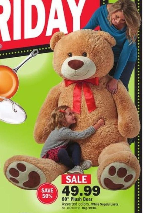 "Mills Fleet Farm Black Friday: 80"" Plush Bear for $49.99"