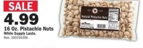 Mills Fleet Farm Black Friday: Mills Fleet Farm 16oz Natural Pistachio Nuts for $4.99