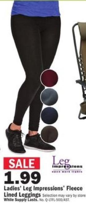 Mills Fleet Farm Black Friday: Leg Impressions Black Fleece Lined Leggings for $1.99