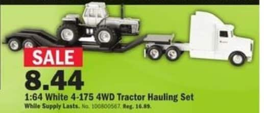 Mills Fleet Farm Black Friday: 1:64 Scale White 4-175 4WD Tractor Hauling Set for $8.44
