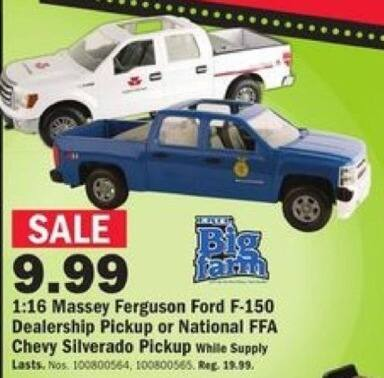 Mills Fleet Farm Black Friday: Big Farm 1:16 Scale Ford or Chevy Pickup for $9.99